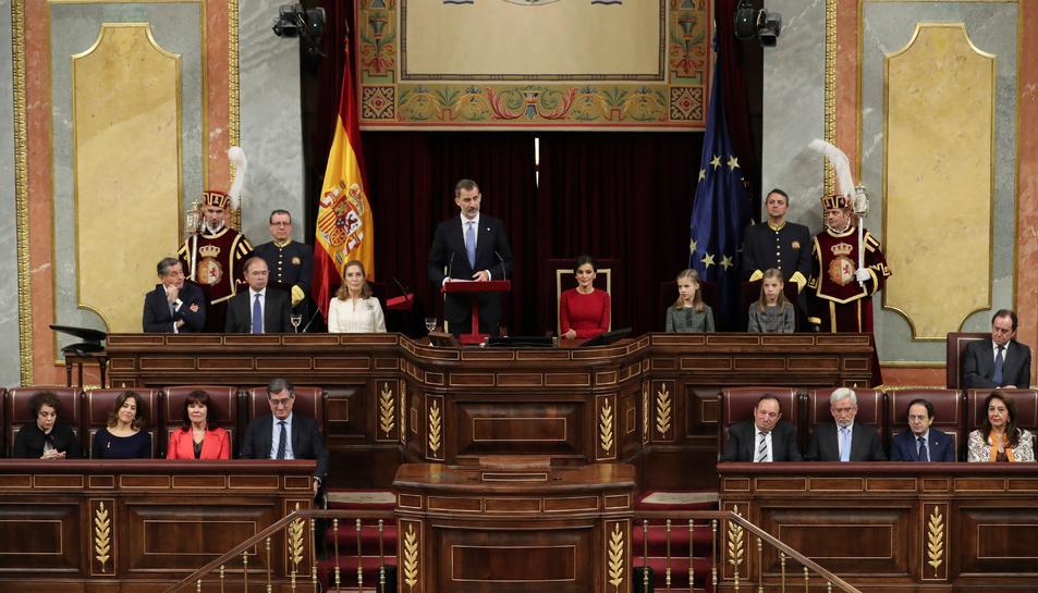 El Rei Felip VI, durant el seu discurs avui a la solemne conmemoració del 40 aniversari de la Constitució.