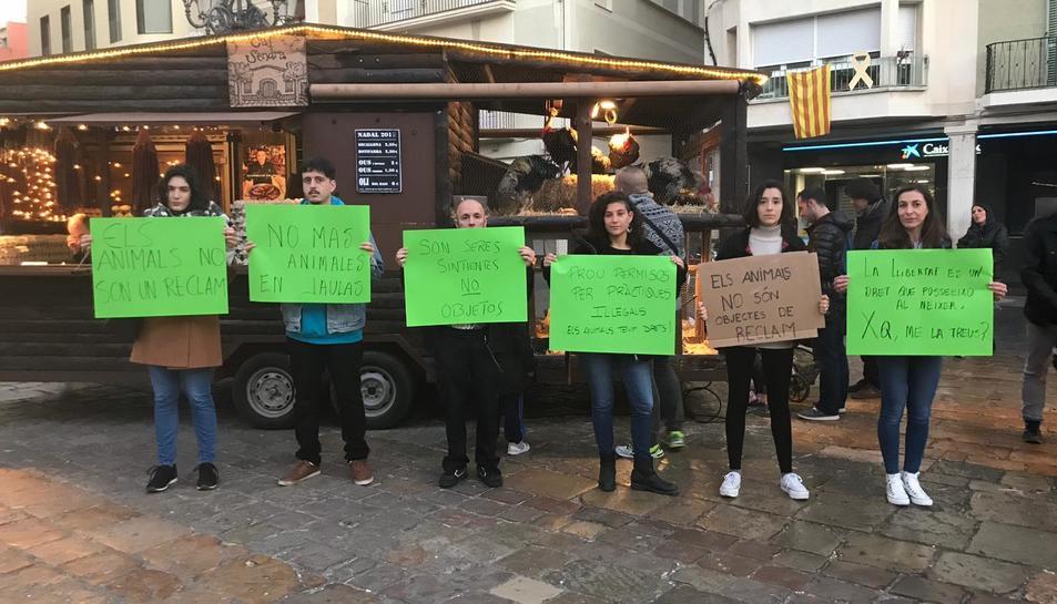 Imatge de les activistes en la protesta de dimecres.