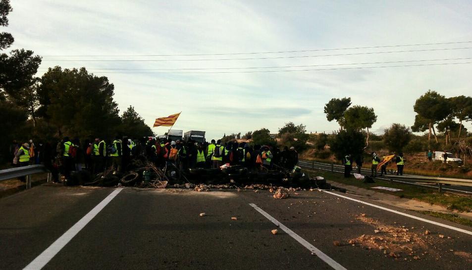 Els manifestants, a la carretera.