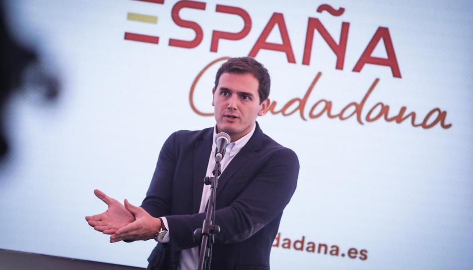 El president de Cs, Albert Rivera, intervenint en una carpa de 'España Ciudadana' a Madrid.