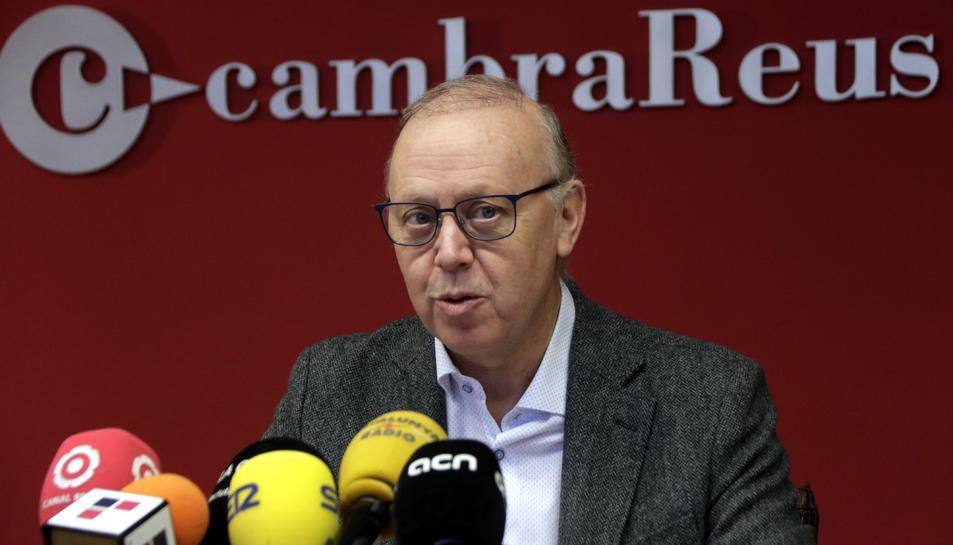 El president de la Cambra de Reus, Isaac Sanromà, en roda de premsa el 19 de desembre del 2018.