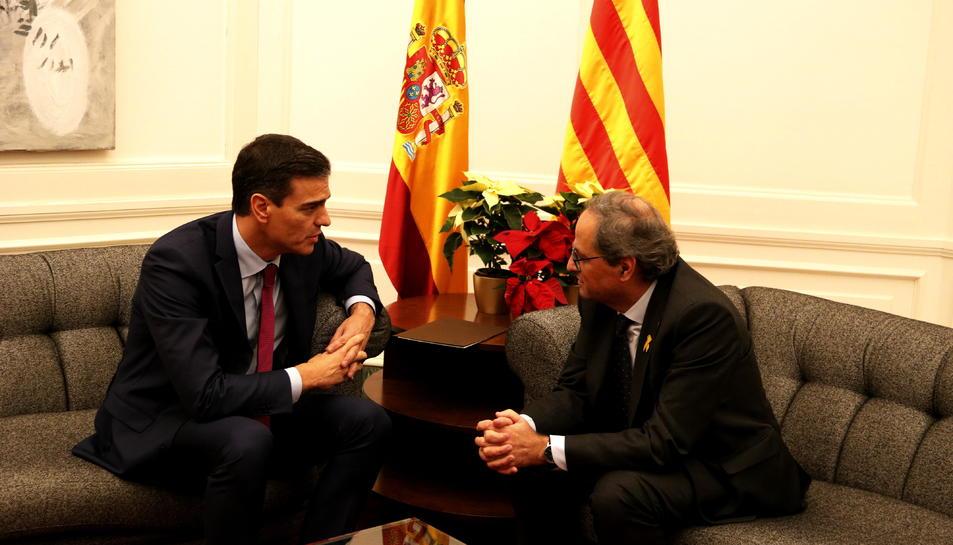El president de la Generalitat, Quim Torra, i el president del govern espanyol, Pedro Sánchez, reunits a Barcelona.