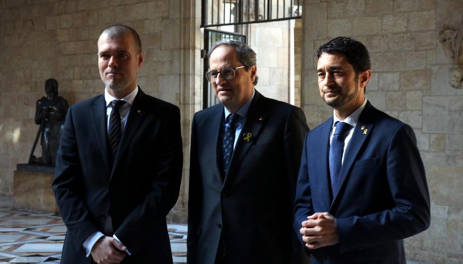 Josep Maria Cruset, Quim Torra, Tarragona i Damià Calvet al Palau de la Generalitat.