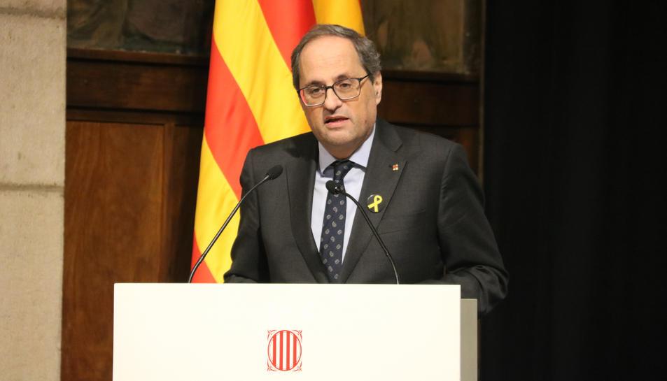 El president, Quim Torra, durant l'acte al Saló Sant Jordi de la Generalitat.