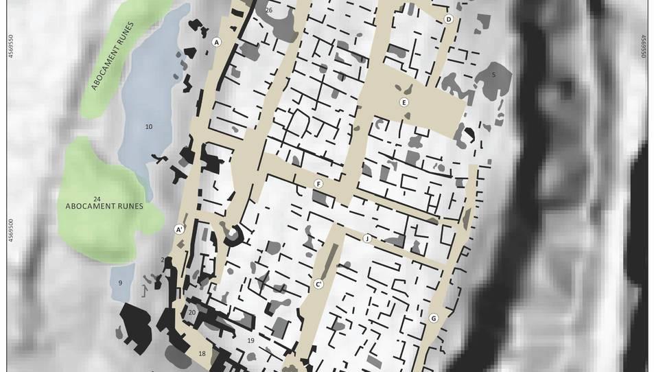 Imatge captada per un georadar que mostra una ciutat ibèrica soterrada a Banyeres del Penedès.