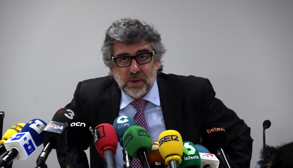 L'advocat Jordi Pina, advocat de Jordi Sànchez, Jordi Turull i Josep Rull, durant una compareixença.
