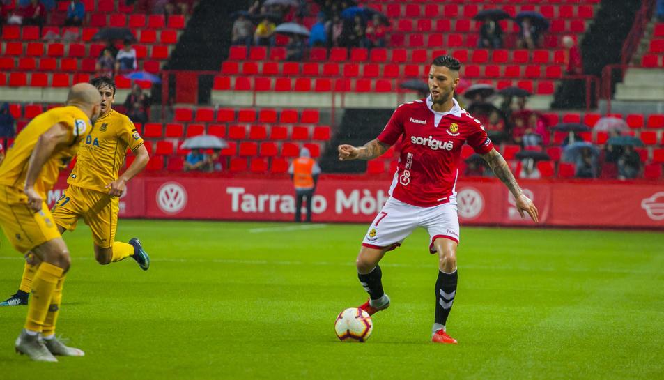 Tete Morente, durant el Nàstic-Alcorcón d'aquesta temporada, disputat el 15 d'octubre i que va finalitzar 1-3 a favor dels madrilenys.