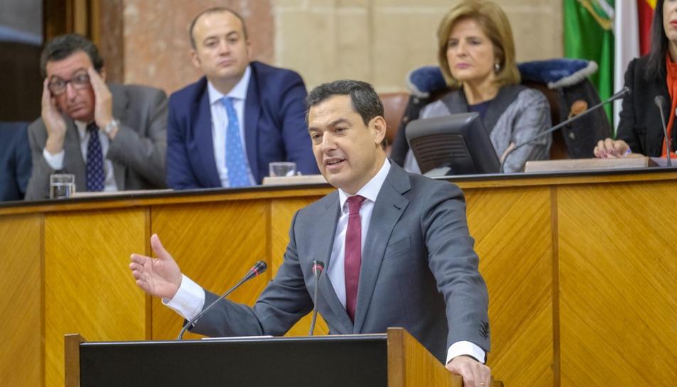 El nou president andalús, Juanma Moreno, aquest dimecres al Parlament d'Andalusia.