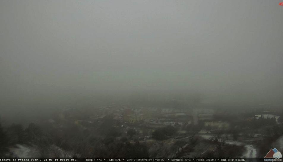 Imatge de Vilanova de Prades el matí d'aquest dimecres.