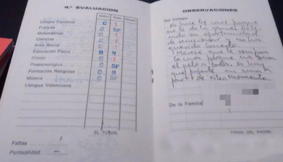 Imatge de la curiosa nota d'un professor al seu alumne fa 37 anys.