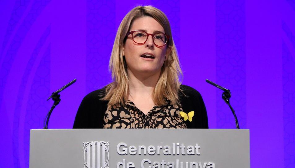 La portaveu del Govern, Elsa Artadi, en una roda de premsa al Palau de la Generalitat.