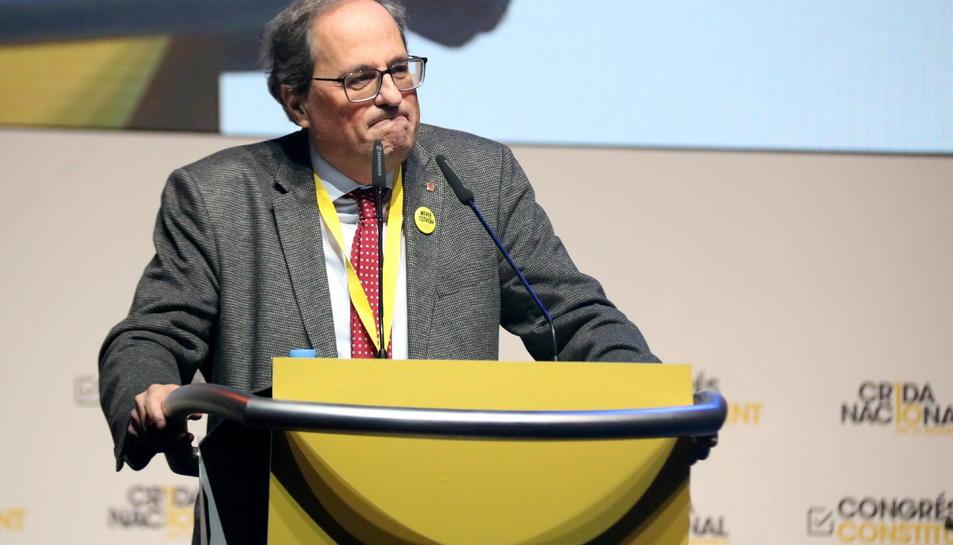 El president de la Generalitat, Quim Torra, intervenint a la cloenda del congrés constituent de la Crida Nacional per la República.