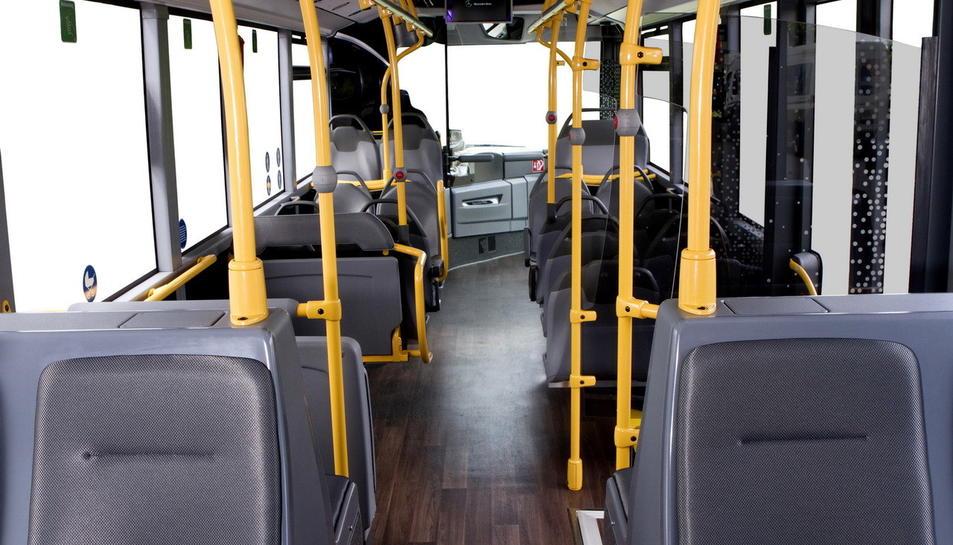 Una imatge de l'aspecte que tindrà l'interior dels nou autobusos municipals.