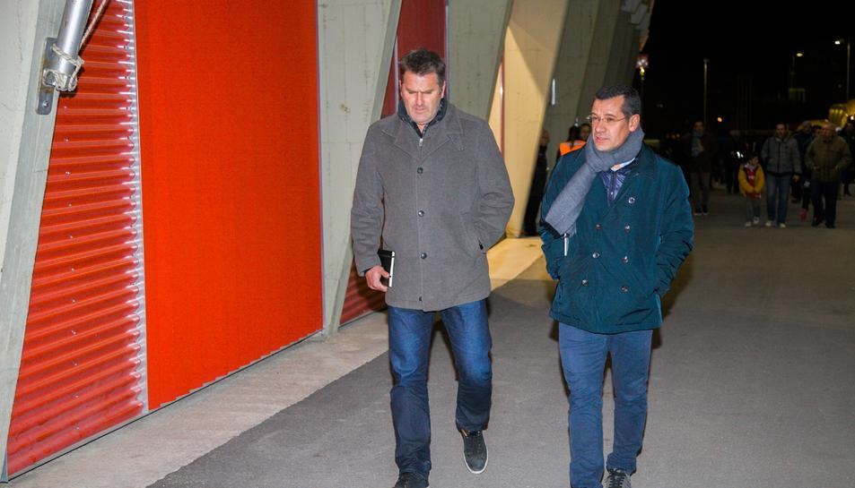 Curt Onalfo i Sergi Parés arribant al Nou Estadi