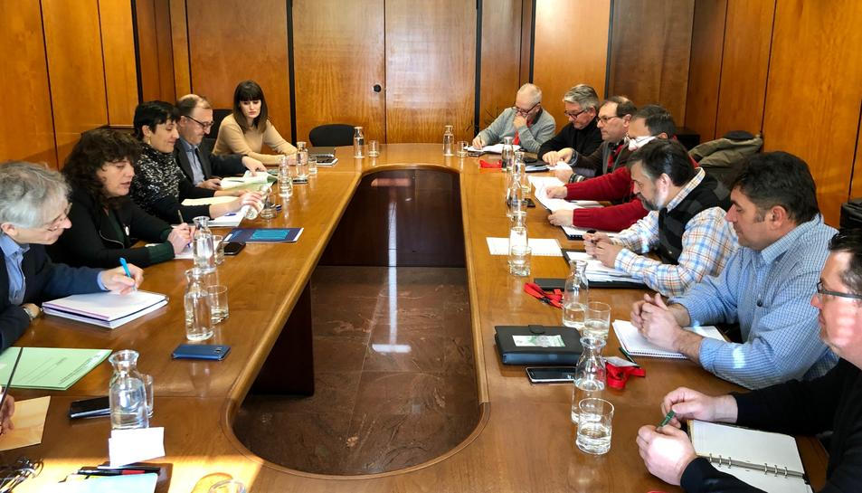 Imatge de la reunió bilateral entre la Generalitat i Unió de Pagesos.