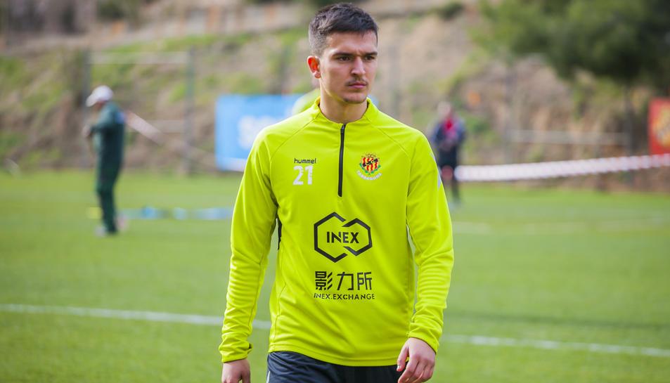 Antonio Cotán durant el seu primer entrenament a Tarragona.