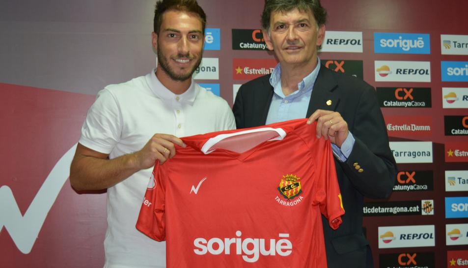 Palanca, en la seva primera presentació amb el club grana.