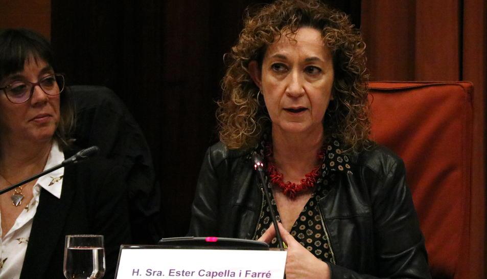 La consellera de Justícia, Ester Capella, en una compareixença.