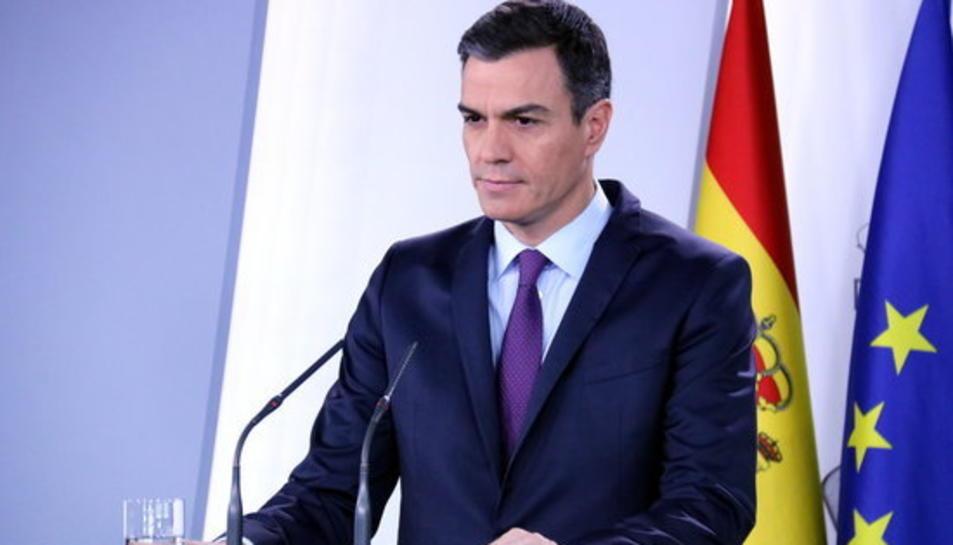 Pedro Sánchez durant el reconeixement de Juan Guaidó com a president de Veneçuela.