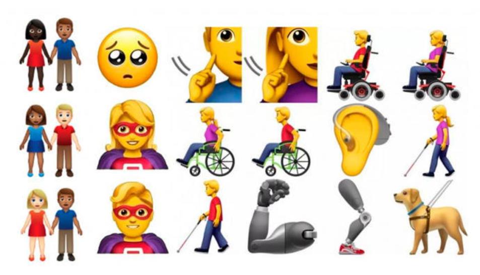 Alguns dels emojis que s'incorporaran aquest 2019.