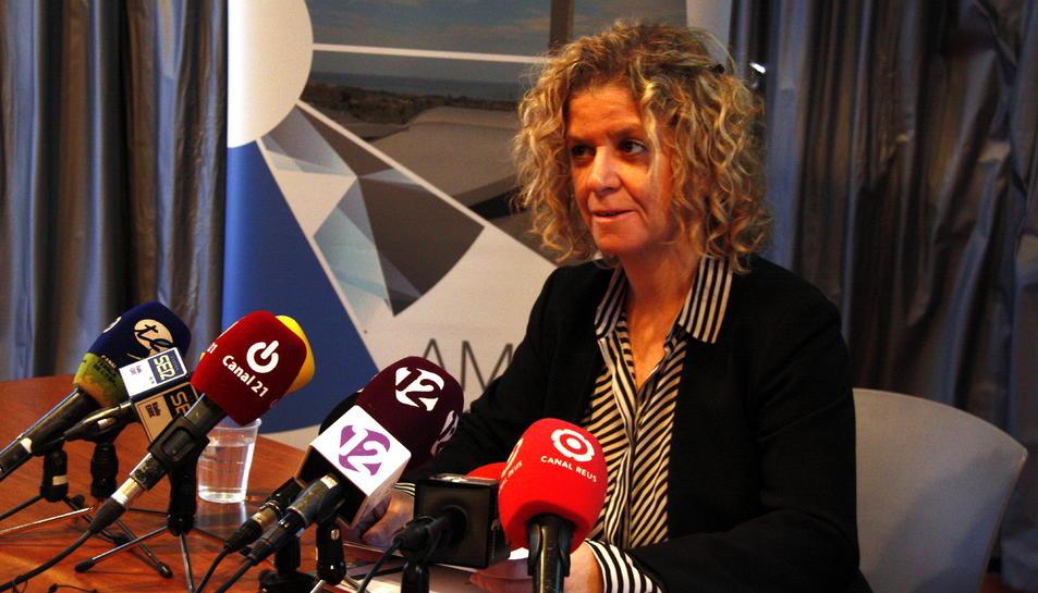 La presidenta del CAT, Meritxell Roigé, en la presentació del balanç anual del Consorci.