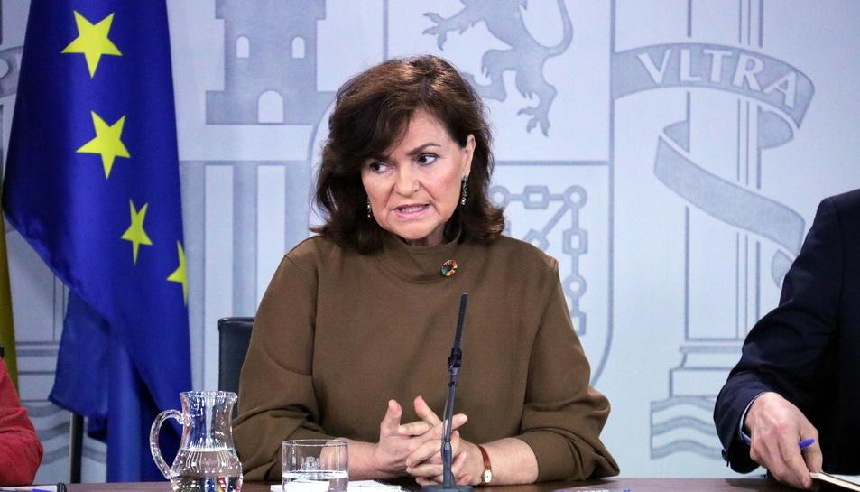 La vicepresidenta del govern espanyol, Carmen Calvo, a la roda de premsa posterior al Consell de Ministres.