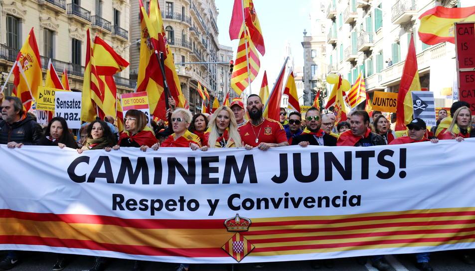 Imatge d'arxiu d'una manifestació en defensa de la constitució a Barcelona, l'any 2017