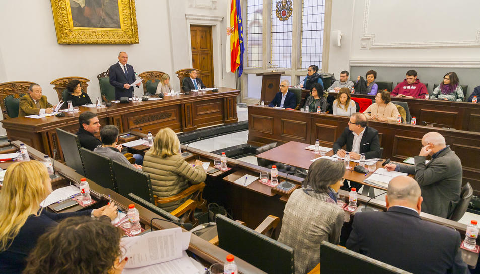 El saló de plens de l'Ajuntament de Reus.