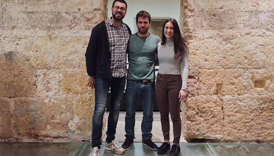 D'esquerra a dreta, Oriol Sànchez (cap de pinyes), Oriol Peiró (cap de colla) i Marta Sancho (cap de canalla).