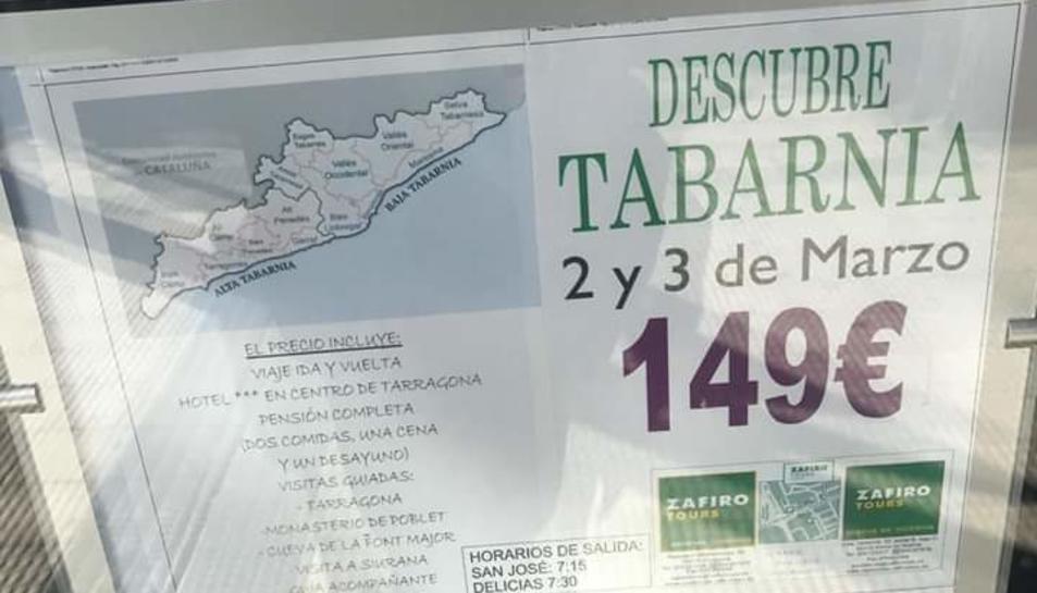 Cartell promocional del paquet turístic «Descobreix 'Tabarnia'».