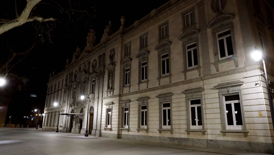 Imatge del Tribunal Suprem a primera hora del matí d'aquest dimarts 12 de febrer.