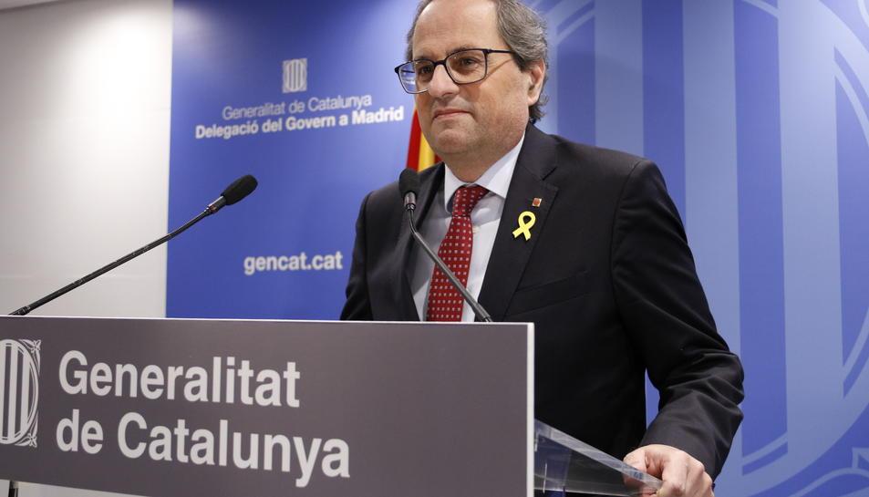 Pla mig del president de la Generalitat, Quim Torra, en una roda de premsa.