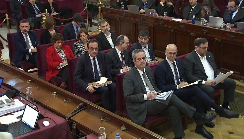 Imatge dels polítics independentistes en la segona jornada del judici de l'1-O.