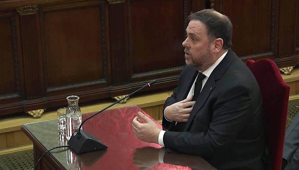 Oriol Junqueras durant la seva declaració al Tribunal Suprem.
