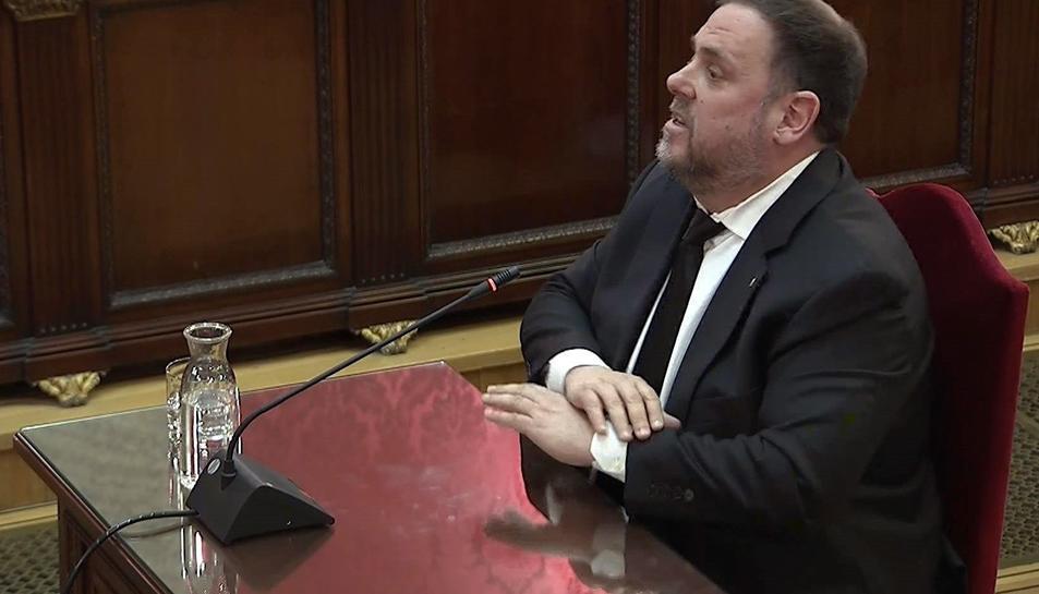 Imatge de Junqueras durant la seva declaració al Tribunal Suprem.