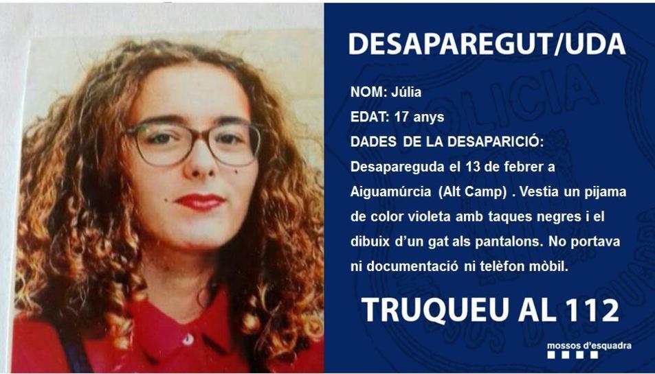 Júlia de 17 anys ha desaparegut aquest dijous a Aiguamúrcia.