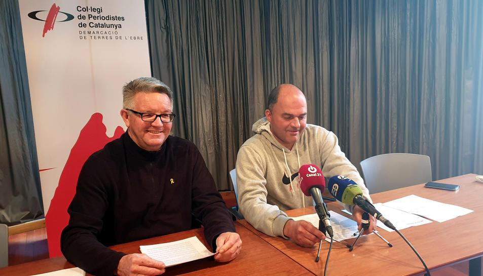 Els responsables d'Unió de Pagesos a les Terres de l'Ebre, Rafel Verdiell i Carlos Roig, responsable del sector dels cítrics del sindicat agrari.