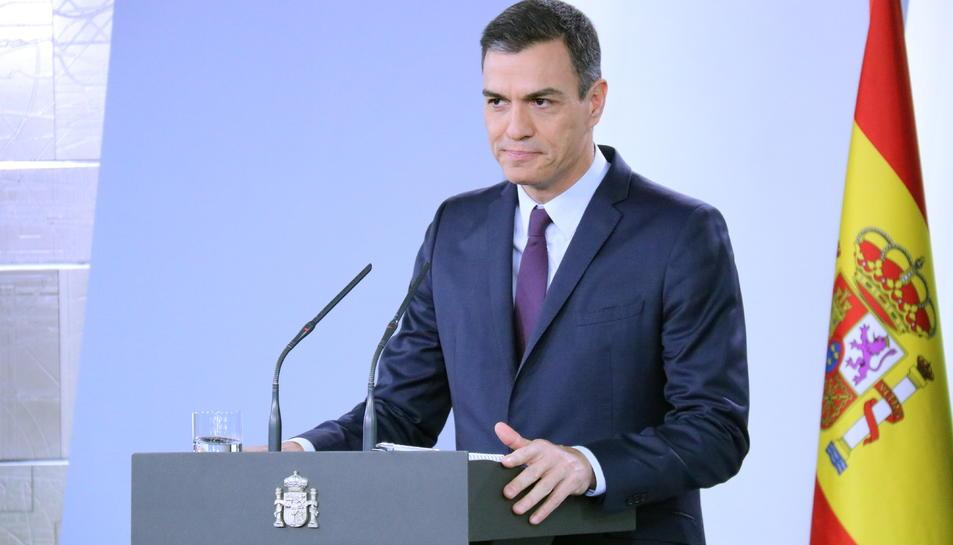 El president del govern espanyol, Pedro Sánchez, a la roda de premsa posterior al Consell de Ministres extraordinari.