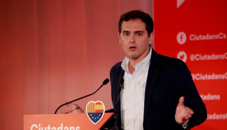 El president de Ciutadans, Albert Rivera intervenint en un acte del partit a Barcelona.