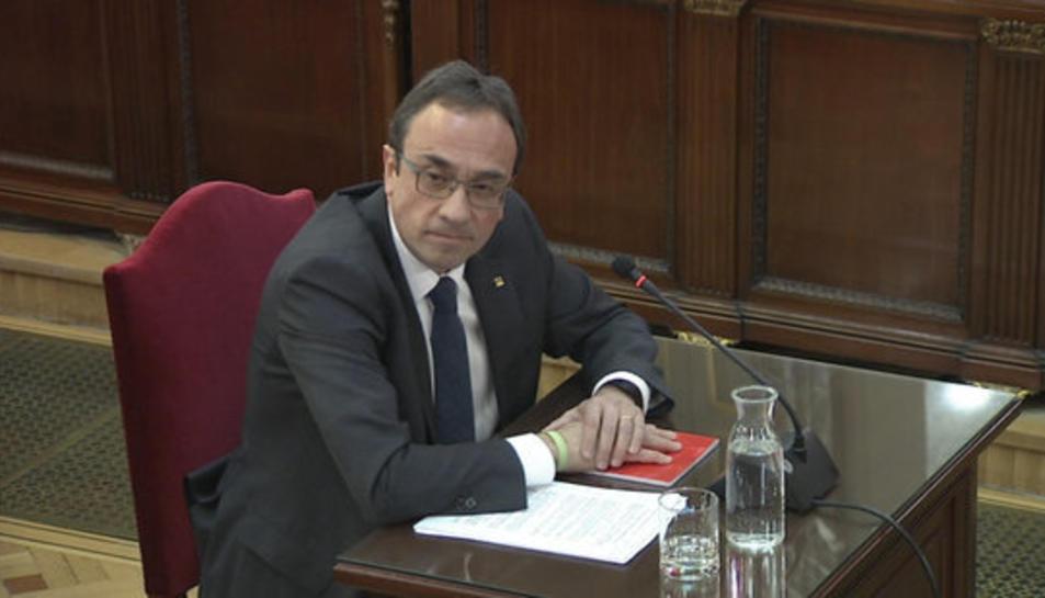 L'exconseller Josep Rull, durant l'interrogatori de la fiscalia al judici de l'1-O.