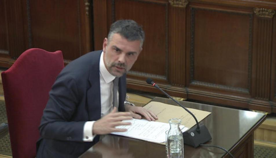 L'exconseller Santi Vila, declarant al Tribunal Suprem el 21 de febrer del 2019.