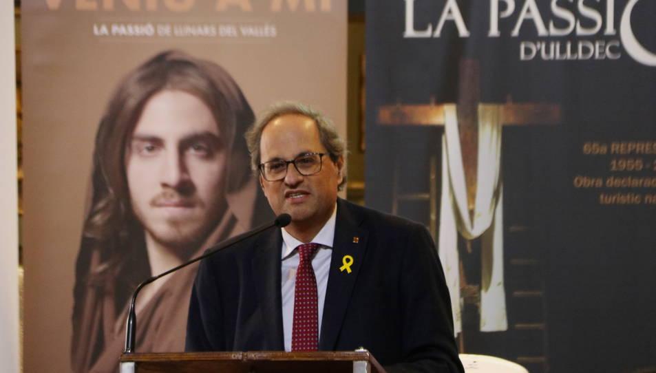 El president de la Generalitat, Quim Torra, durant la seva intervenció en l'acte de presentació de la temporada de Passions 2019.
