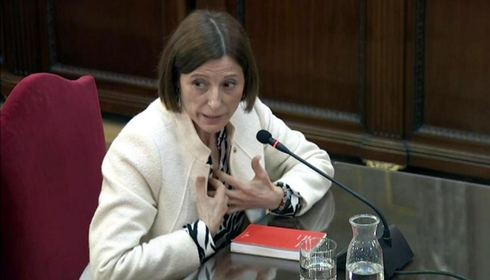 L'expresidenta del Parlament Carme Forcadell durant la seva declaració.