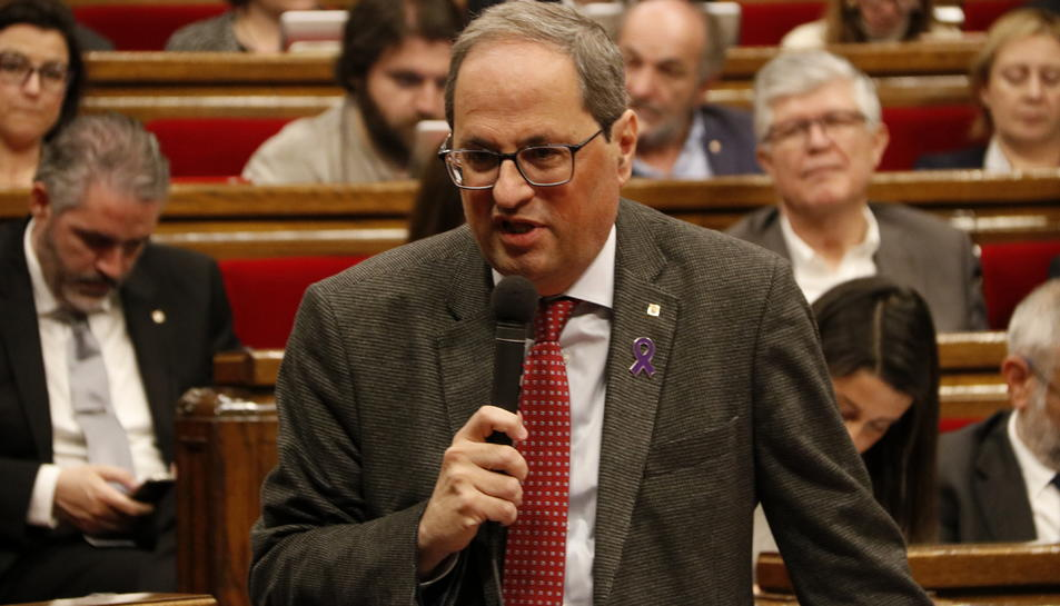Quim Torra, ahir durant la sessió de control al Parlament de Catalunya.