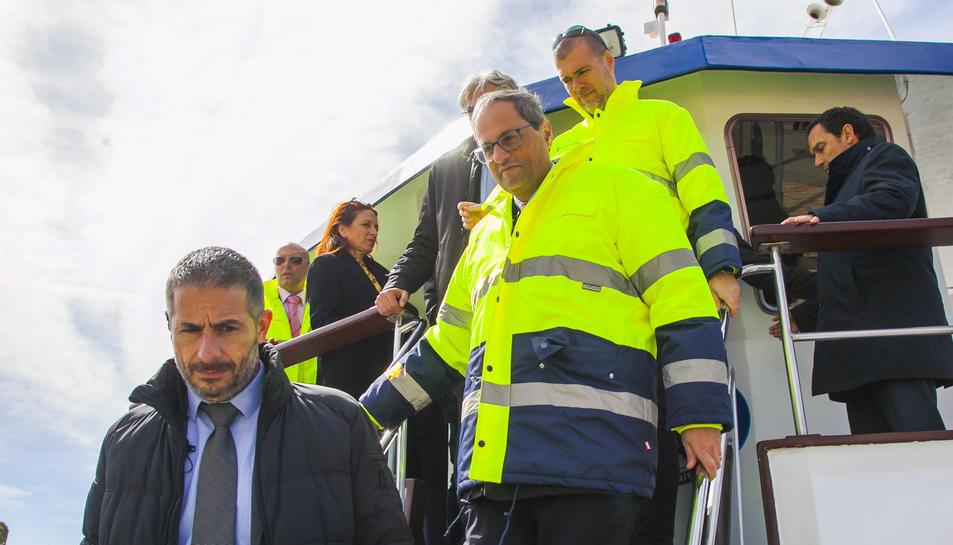 Imatge de la visita institucional de Torra al Port de Tarragona.