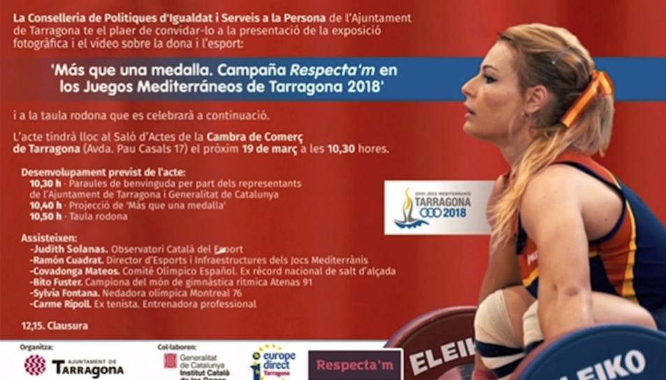 Cartell de l'acte de debat de les conductes sexistes a l'esport que tindrà lloc a la Cambra de Comerç de Tarragona.