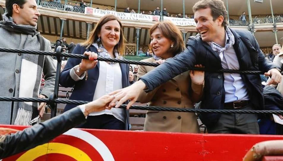 El líder del Partit Popular, Pablo Casado, durant la seva visita a València.