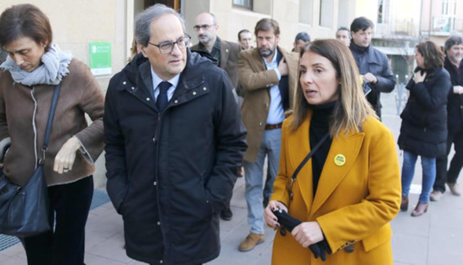 Imatge d'arxiu del president de la Generalitat, Quim Torra, junt a Meritxell Budó, que suplirà a Artadi al Govern.
