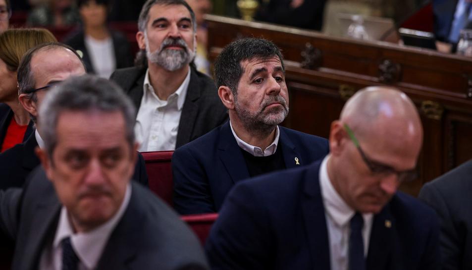 Jordi Sànchez, durant la primera jornada del judici de l'1-O el 12 de febrer del 2019.