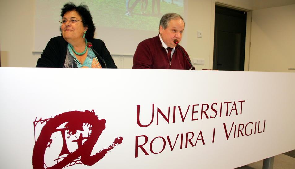 La rectora Maria José Figueras i el viecrector Jordi Sardà.